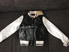 John Galliano Jacke Lederjacke Kinder 6 y Gr. 116 schwarz weiß Neu echtes Leder