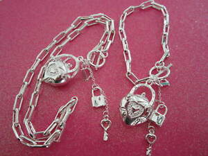 Love and Bridge Silver Necklace 925 Round Padlock Necklace RJLPKE Sterling Silver Lock Necklace for Ladies Pendant Love Lock Bridge to Girlfriend//Mother//Female Friend Best Gift
