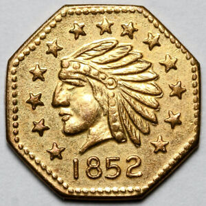 1852 UNITED STATES GOLD INDIAN HEAD CALIFORNIA GOLD TOKEN COIN