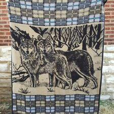 Two Wolves Fleece Throw Blanket Blue Plaid Border Thick