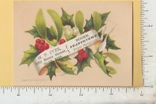 A323 H. P. Ives stationery book seller trade card Salem, MA holly berries