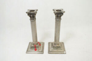 Vintage Godinger Silverplate Detailed Column Candlestick Pair 8 1/4 inches Tall