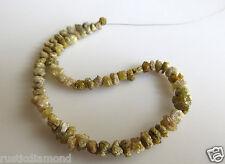 "40.00ct 4-5MM Natural Yellow Rough Diamond Beads Loose Diamond Bead 16"" Necklace"
