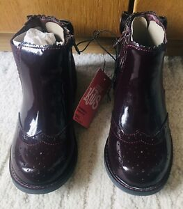 Girls Matalan Stunning Plum Colour Patent Boots Size Kids 12 New 🖤