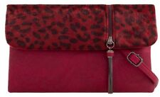 Leopard Print Clutch Bag Burgundy Faux Leather Fur Evening Handbag Animal Print