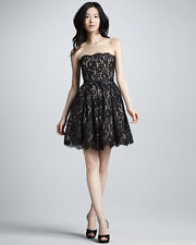 Dress Black Lace Party Cocktail Full 50s NEIMAN MARCUS ROBERT RODRIGUEZ 4 S