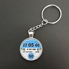 Personalised Any Age Car Tax Disc Pendant Split Ring Keyring Birthday Gift N407
