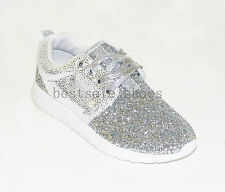 NEW WOMENS LADIES RUNNING TRAINERS GLITTER FITNESS GYM SPORTS LACE UP SHOES SIZE