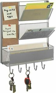 MyGift 3 Basket Silver Metal Mesh Wall Mail Rack with Cork Board and 5 Hooks