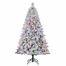 Home Heritage Cascade 7' Pine White Flocked Artificial Christmas Pre-Lit Tree