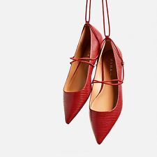 ZARA RED EMBOSSED LACE-UP BALLET VAMP SHOES SIZE UK 4 37