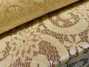 Pearlescent Shimmer Lace Fabric, Per Metre - Floral Swirl Design - Yellow