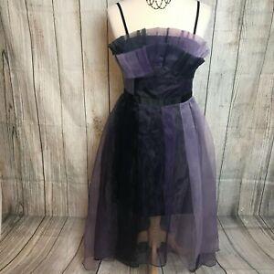 Quirky Black Purple Mesh Organza Strappy Dress Size XS (6-8) VGC