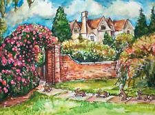 "New listing Garden & Bunny Rabbits Original Painting Bunnies Flowers Path Yard 11""x15"" Wc"
