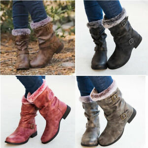 Ladies Flat Boots Womens Winter Fur Lined Causal Comfy Pull On Vintage Shoes