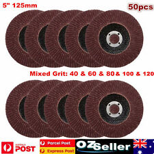 50xabrasive 5''125mm Metal Sanding Flap Disc Angle Grinder 40 60 80 100 120 Grit