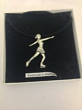 on a Black Cord Necklace Figure Skater Sport Pp-Sp17 Pewter Pendant