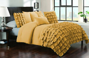 3 Piece Set Solid Half Ruffle Duvet Cover 800 TC Egyptian Cotton All Sizes/Color