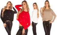 Pullover donna asimmetrico maglione maglia ampia manica lunga con anelli