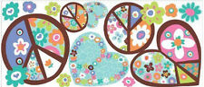 """HEARTS & PEACE SIGNS giant wall stickers 12 hip decals up to 14"""" big room decor"""