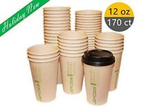 12oz Disposables Hot Paper Coffee Bamboo Fiber Cups With Lids 170 Counts