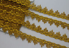 LOT 7 Yards Metallic Gold Venise Lace Trim For Sewing/Craft Width 2.3 cm
