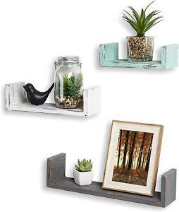 Mixed-Color Rustic Wood U Shaped Floating Shelves for Living Room, Set of 3