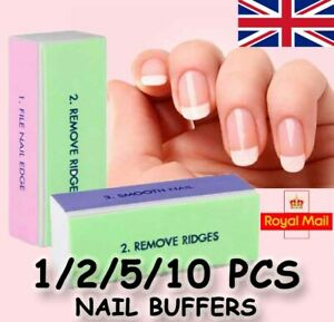 Professional Nail buffer Sanding Block Salon Art 4 Way Buffing Washable Soft UK