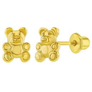 18k Gold Plated Little Teddy Bear Screw Back Earrings for Toddlers Little Girls