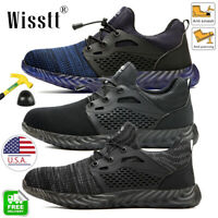 Men's Work Boots Steel Toe Safety Shoes Reflective Lightweight Sneakers Hiking