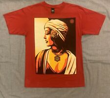 OBEY hipster Peace Woman Graphic Red Shirt Mens Size Meduim SCREENPRINTED