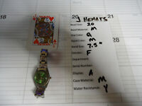 AXEL QUARTZ watch, silver bracelet green face
