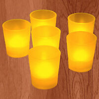 US SELLER ~ 6 FLICKER LIGHT FLAMELESS LED AMBER TEALIGHT VOTIVES TEA CANDLES
