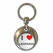 I Love Heart Leopards - Chrome Round Double Sided Key Ring New