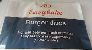 250 WAX DISCS from Easybake Burger Veggy hamburger  WAXED PAPER DISCS 8.5cm