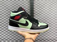 Nike Air Jordan 1 Mid SE Barely Volt Womens Size 9.5 Athletic Black White Red
