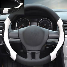 38CM PU Leather Breathable Car Steering Wheel Protector Cover Black White Line