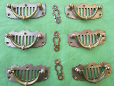 6 poignées pendantes 3 entrées laiton meuble tiroir bureau commode 8,5 cm ancien