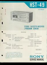 Rare Original Factory Sony HST 49 Stereo Cassette Tape Deck Service Manual