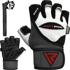 Rdx перчатки для тяжелой атлетики кожа спортзал фитнес Бодибилдинг тренировки тренировки