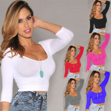 Alacki Women Sexy Tight Crop Tops Long Sleeves Low-cut Stretch T-Shirt Blouse