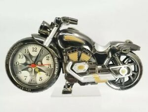 Alarm Clock Motorcycle Model Autobike Design Home Office Decorations Silver B