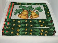 Christmas holly bells Tapestry  Place Mats New Set of 4  13 x 19