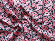 Vintage 70's Poly-Cotton Dress Making Fabric Red Pink Roses on Navy Blue