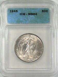 BU 1945 Walking LIBERTY Half Dollar ICG MS64.  #5