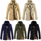 WINTER Mens Fashion Trench Coat Warm Thicken Fleece Jacket Peacoat Long Overcoat