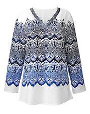 Nightingales Print Blouse Size 20 Ladies Women Colour Ivory / Blue / Navy