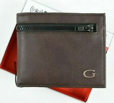 GUESS Men's RFID Protection Bifold Wallet with ID Flap, Zip Compartment, Brown