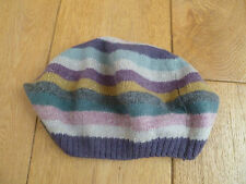 MONSOON ACCESSORIZE WOOL ANGORA BLEND GREENS STRIPED BERET HAT MULTICOLOURED