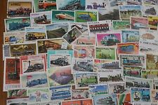 BULK LOT TRAINS.LOCOMOTIVES THEMED STAMPS X 50  GOOD MIX FREE POSTAGE IN OZ
